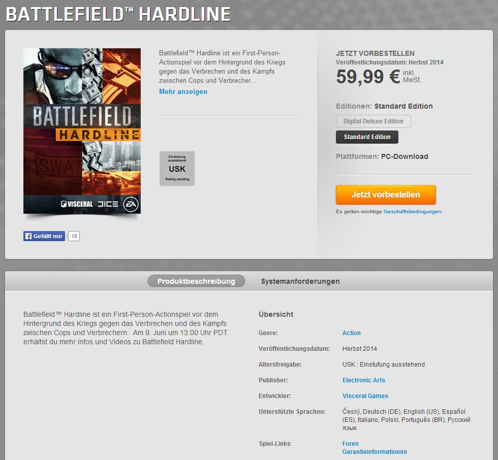 Battlefield Hardline Origin vorbesteller