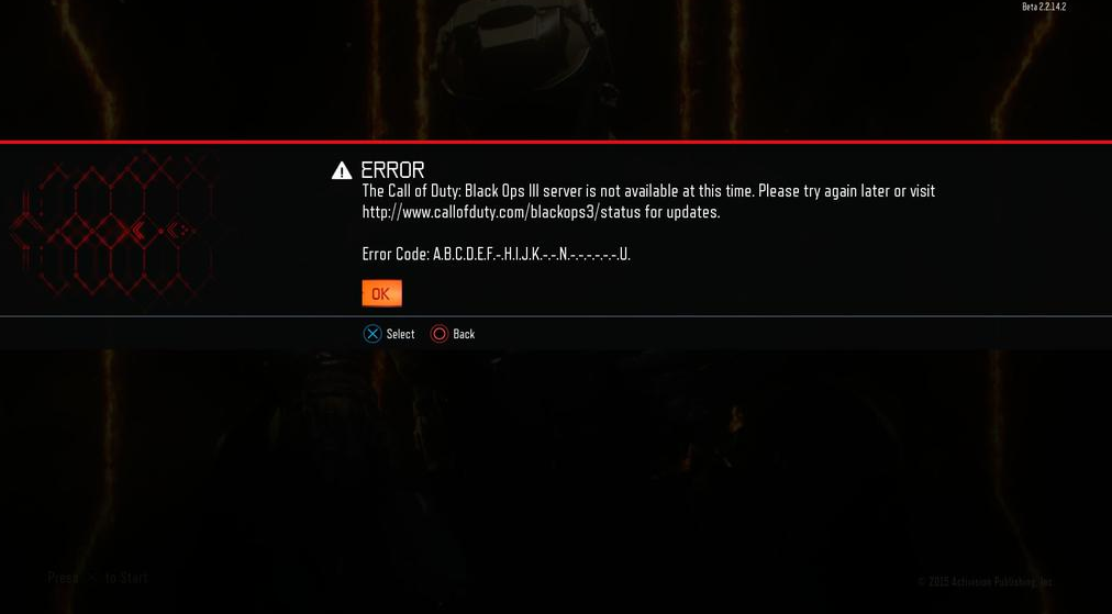 A.B.C Server Error - Server not available: So oder so ähnlich zeigt sich manch einem Zocker Call of Duty: Black Ops 3