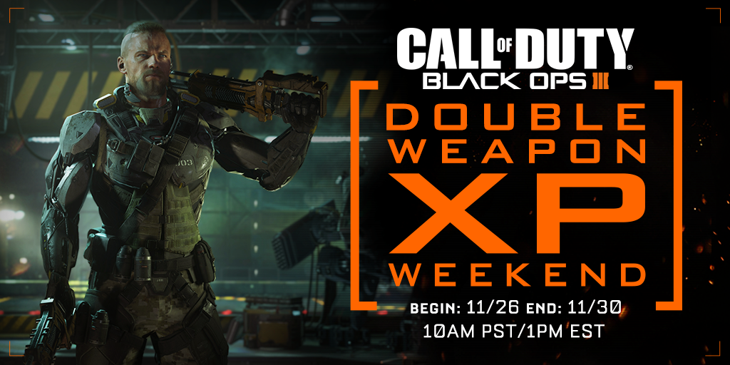Call of Duty: Black Ops 3 Double XP Weekend vom 26. November 19 Uhr bis 30. November 19 Uhr deutscher Zeit!