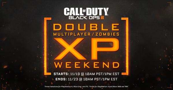 Vom 19. bis 23. November jeweils ab/bis 19 Uhr könnt ihr in Black Ops 3 doppelte XP sammeln!