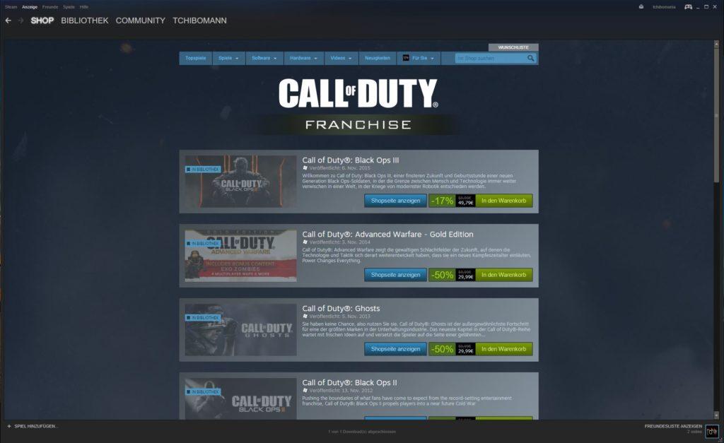 Steam Sale - Call of Duty! Schnell sein lohnt sich - bis zum 1.12.2015 bis zu 50% sparen!