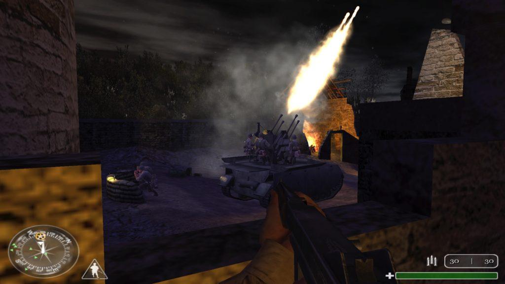 Deutsche Soldaten auf einem Flugabwehrpanzer. Ein ohrenbetäubender Lärm erfüllt die Luft.