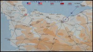 Landkarte der Normandie. Das Spiel hält sich an die historischen Ereignisse.