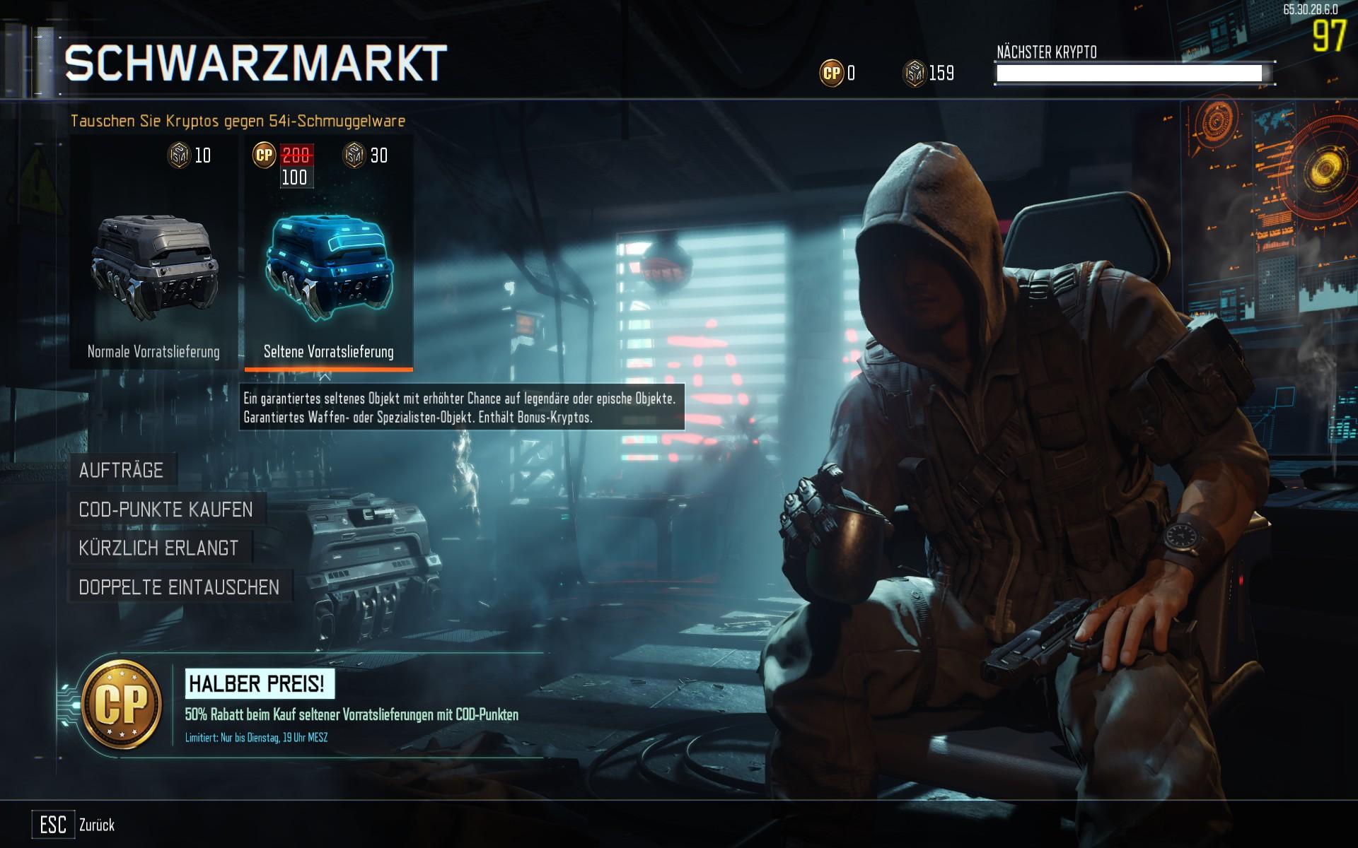 Call of Duty: Black Ops 3 Schwarzmarkt, seltene Vorratslieferungen reduziert erhältlich