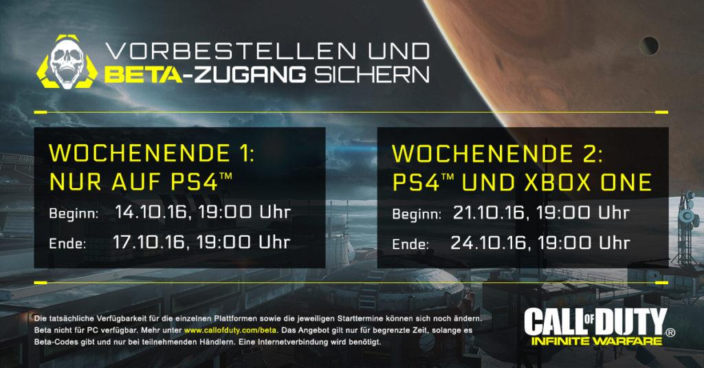 Call of Duty: Infinite Warfare - BETA startet auf der PS4 am kommenden Wochenende für mindestens 3 Tage, eine Woche später dann nochmal zusammen mit der Xbox One