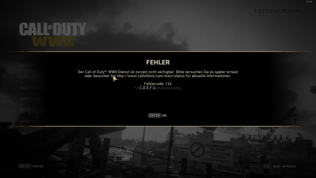 CoD:WWII Fehlercode 124 -,-,C,D,E,F,G,-,-,-,-,-,-,-,-,-,-