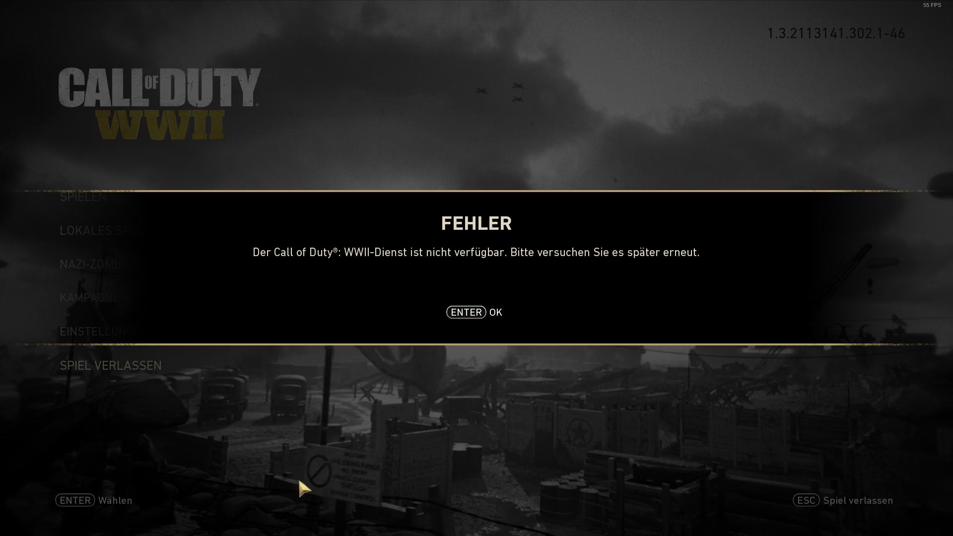 Der Call of Duty: WWII-Dienst ist nicht verfügbar. Bitte versuchen Sie es später erneut.