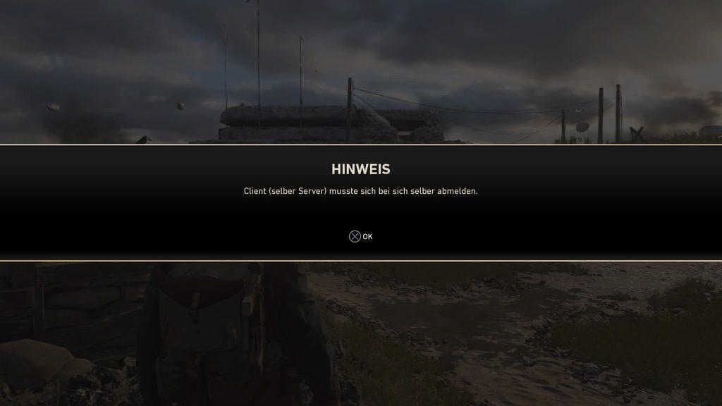 """CoD:WWII - """"Client (selber Server) musste sich bei sich selber abmelden."""""""