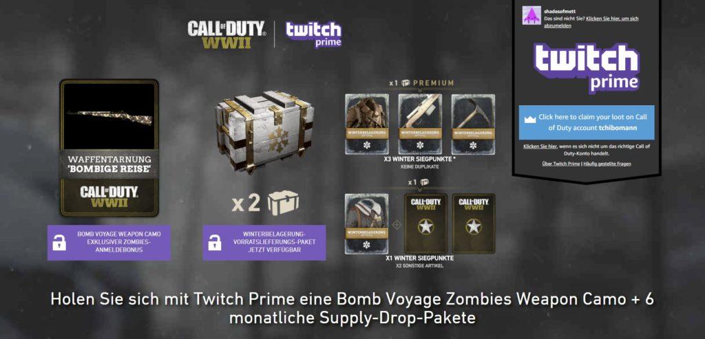Twitch Prime <3 Call of Duty: WWII - Einmal verknüpft gibts kostenlose Bonusinhalte für euch!