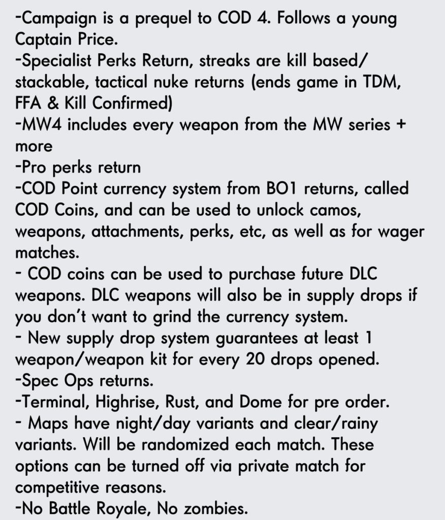 Modern Warfare 4 - Plausible Gerüchte Teil 1